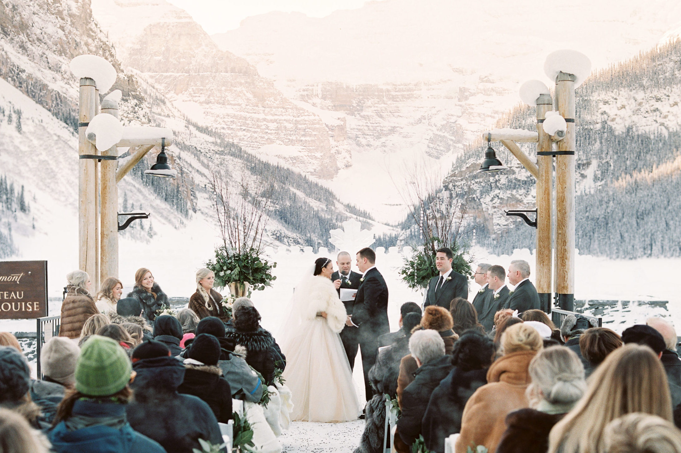 winter wedding at lake louise - Photo credit Reid Lampshead