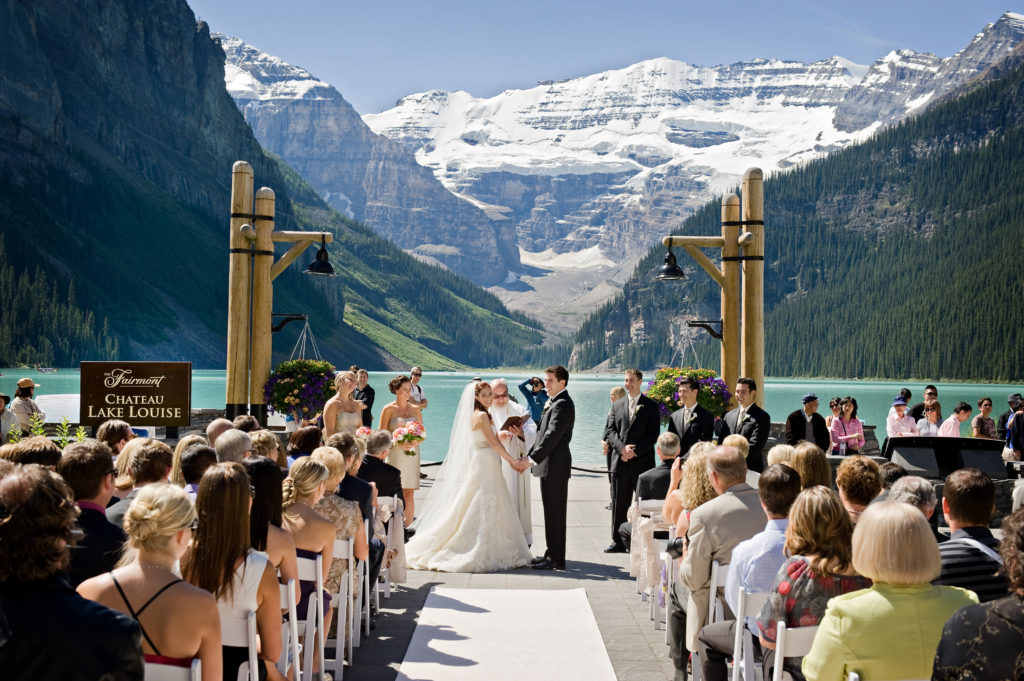 wedding at lakeview terrance overlooking lake louise