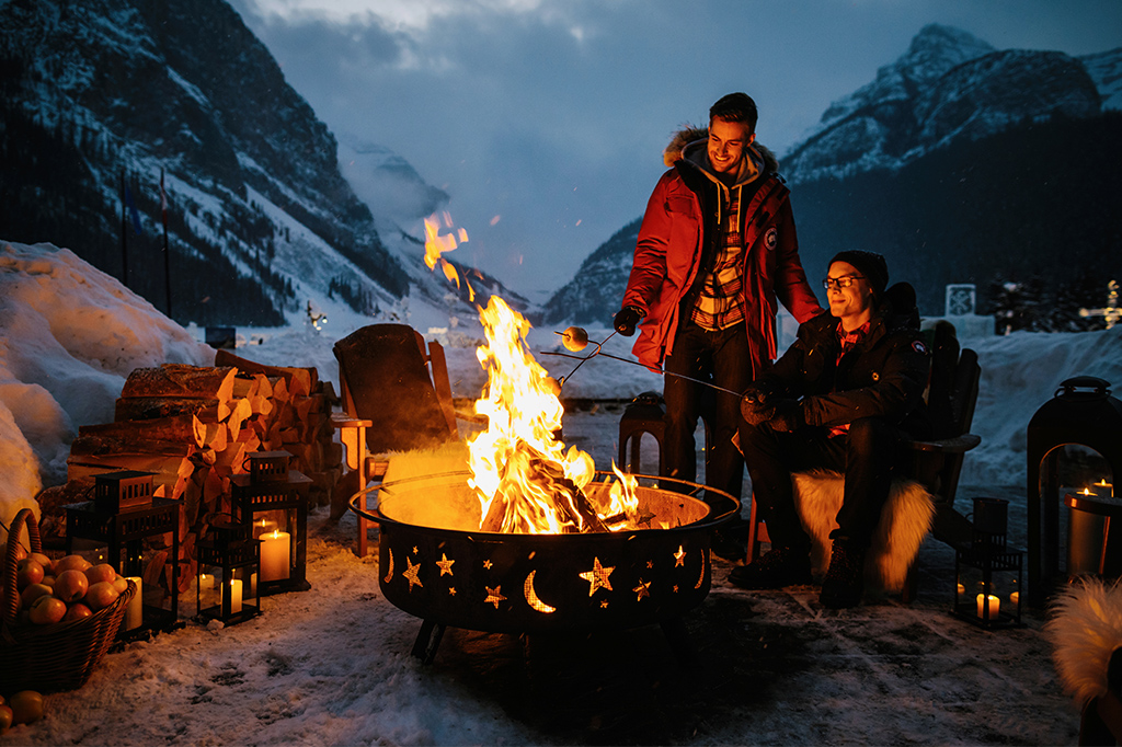 winter campfire in lake louise