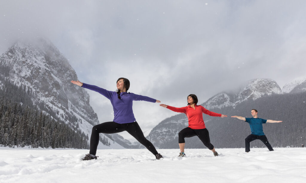 Yoga in the snow, in Lake Louise