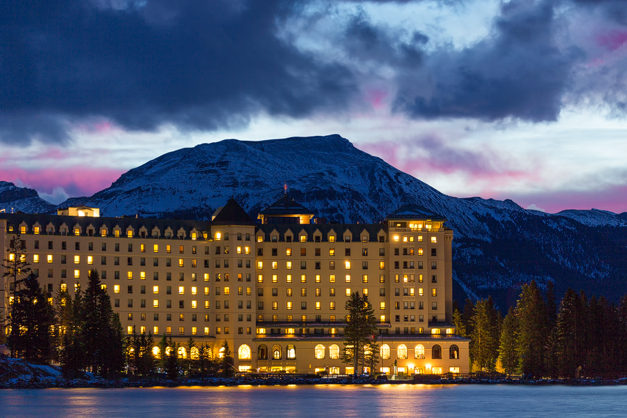 Chateau Lake Louise, at night, in winter
