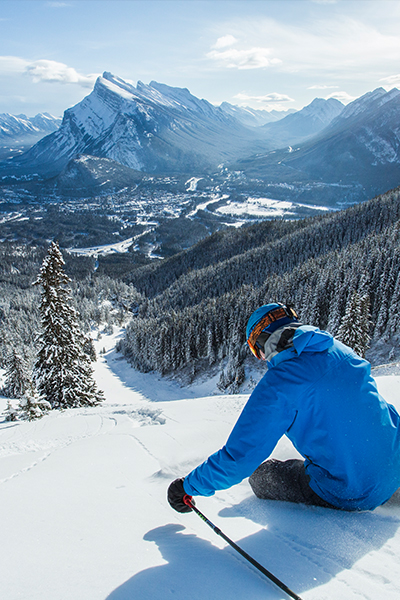 skiing at mount norquay in banff