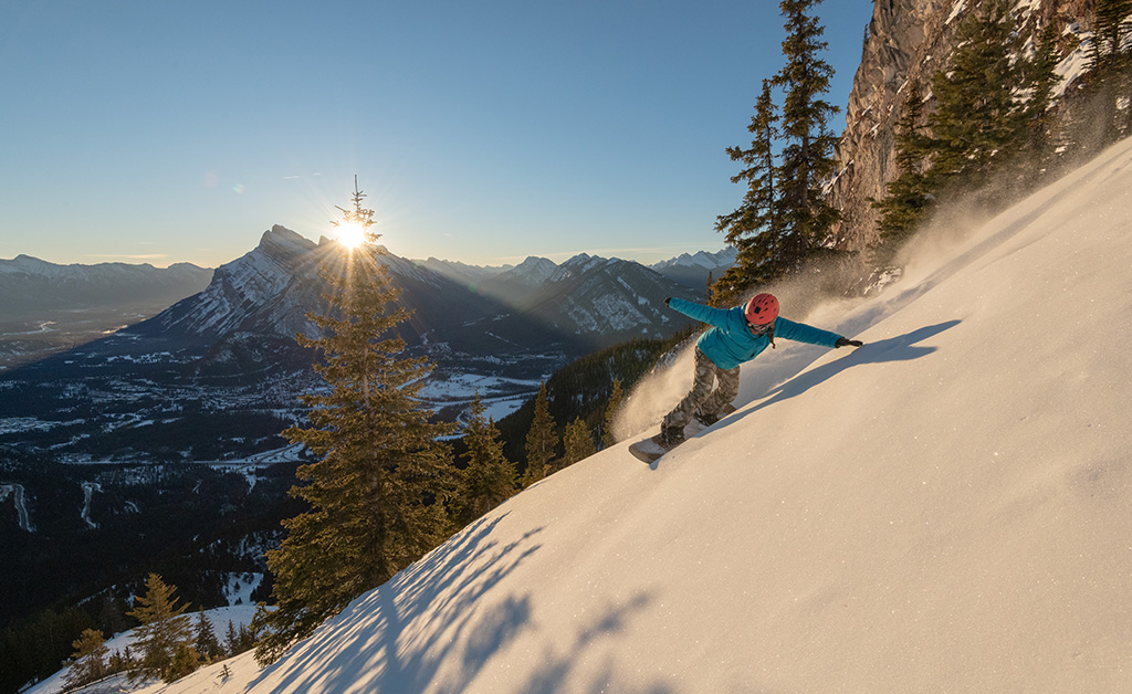 skiing at mt norquay in banff
