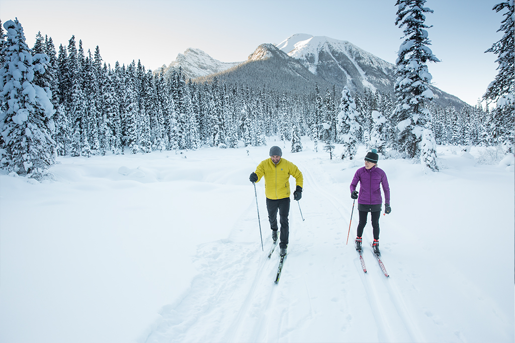 Cross-country skiing couple, in the snow