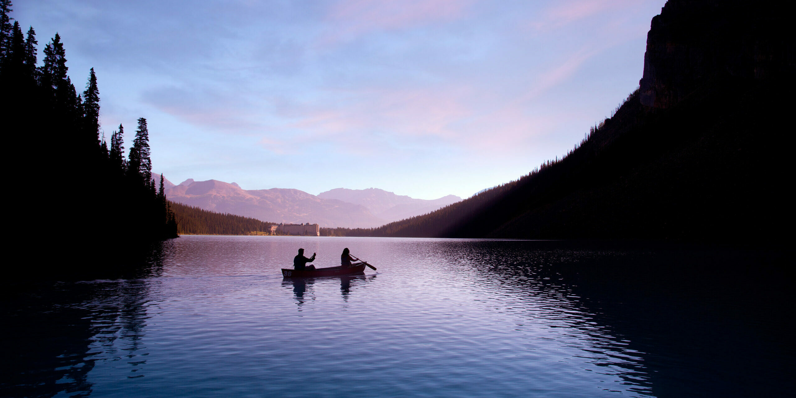 guided canoeing on lake louise