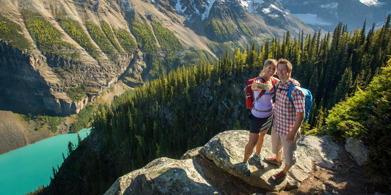 Summer hiking on the trails around Lake Louise